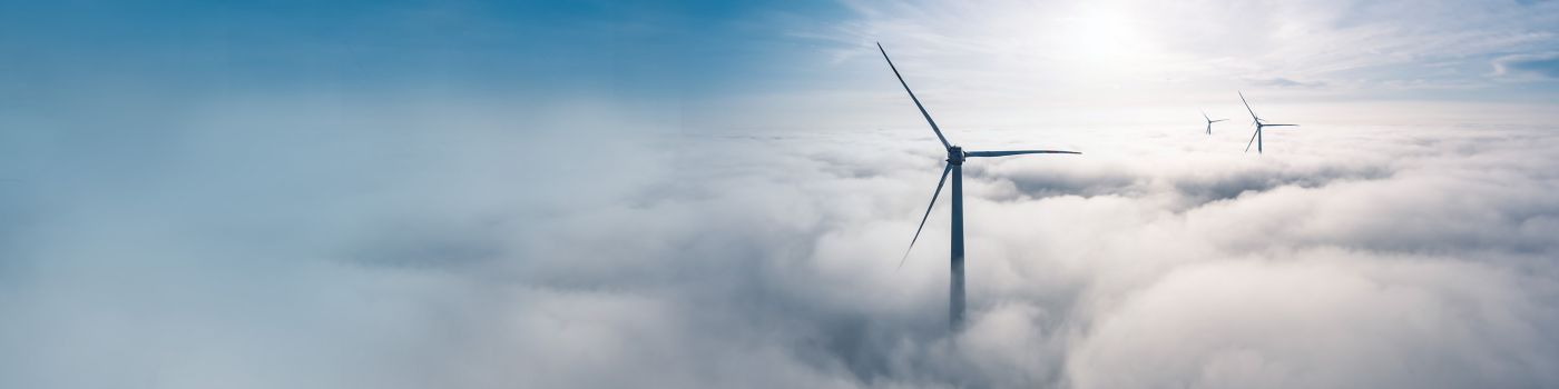Wind turbines above the clouds