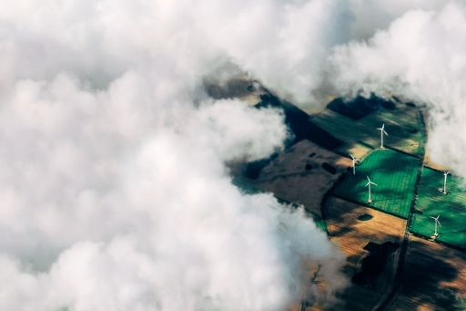 wind station on a field aerial view