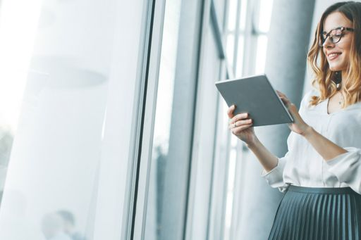 Young lady browsing on a tablet
