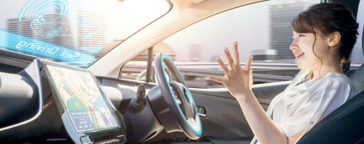 Woman in a self driving car