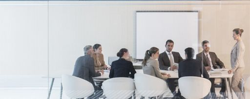 Woman speaking to a group of business people