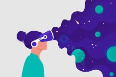 Woman wearing VR headset illustration