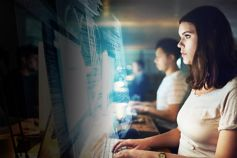 Off-payroll working from April 2020 - woman looking at screen