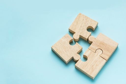 Wooden jigsaw puzzle pieces