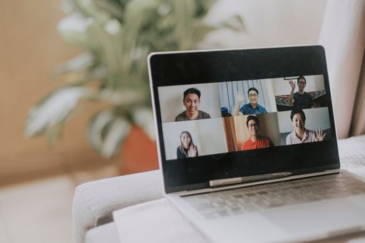working at home using laptop video conference