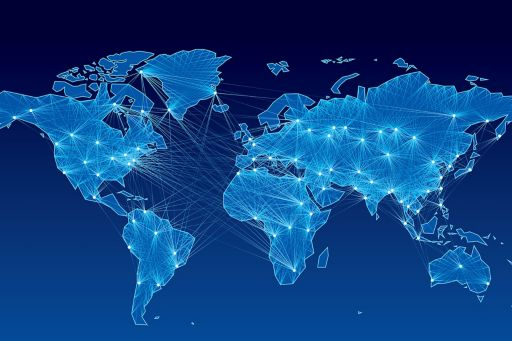 World map with nodes linked by lines