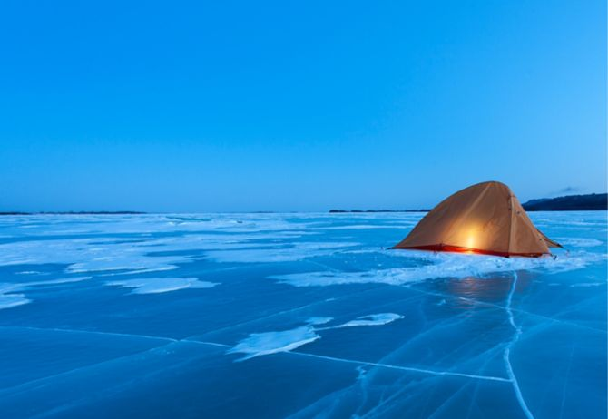 Yellow tent on ice