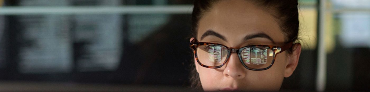 A young female lawyer wearing glasses